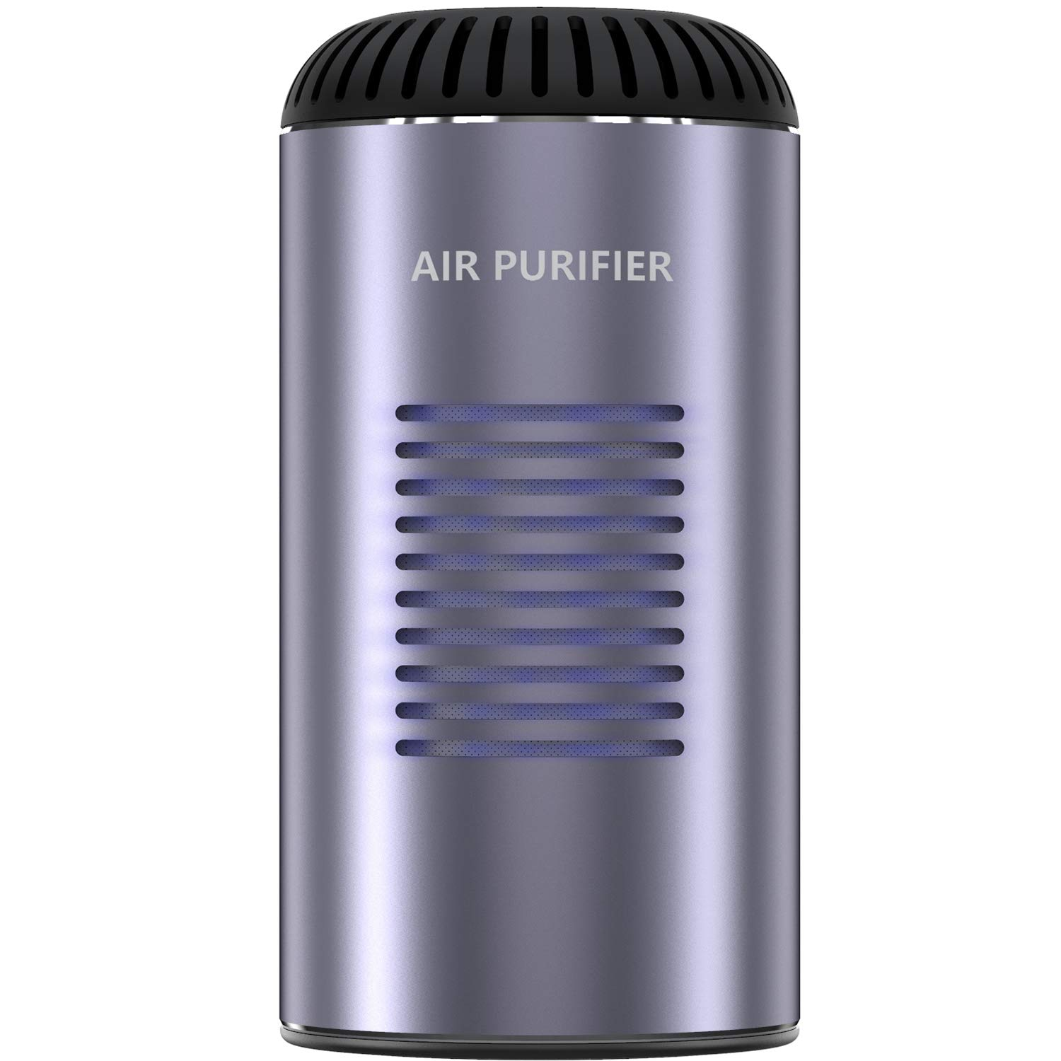 Despful Car Air Purifier Negative Ion Generator Travel Personal Air Cleaner, Portable Hepa Particle Filter for Office and Home Room - Improve Allergen Odor, Smoke, Pets, Pollen (Metal Gray)