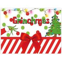 Allenjoy 8x6ft Merry Grinchmas Party Banners Backdrop Christmas Supplies Winter New Year Santa Background Baby Shower Children First Birthday Decorations Studio Photography Props Photo Booth Favors