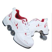 CHSSIH Roller Skates for Women,Shoes with Wheels for Girls/Men,Kick Rollers Shoes Retractable for Boys, Adult 2 in 1 Parkour Quad Roller Shoes,Children's Recreation Outdoor Skates,Red-5.5