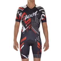 Zoot Men's LTD Aero Short Sleeve Tri Racesuit - High Performance Triathlon Racesuit with Carbon Fabric and 3 Pockets