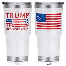 HEATO Trump Keep America Great Tumbler, The 45th President Double Wall Stainless Steel Travel Mug Coffee Cup Vacuum Insulated, with Lid (White, 30 oz)
