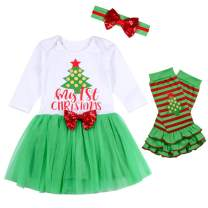 My 1ST Christmas Letter Print Dress Baby Girls Long Sleeve Christmas Tree Print Dress Toddlers Tutu Dress Clothes Set