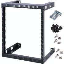 Kenuco Black 15U Wall Mount Open Frame Steel Network Equipment Rack 17.75 Inch Deep - Black - 15U - W19'' x D17.75'' x H29.75''