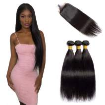 VIPbeauty Brazilian Straight Human Hair Bundles with Closure 4x4 Free Part Lace Closure with Baby Hair Unprocessed Virgin Hair Weft for Black Women (18 20 22+16, Nature Color)