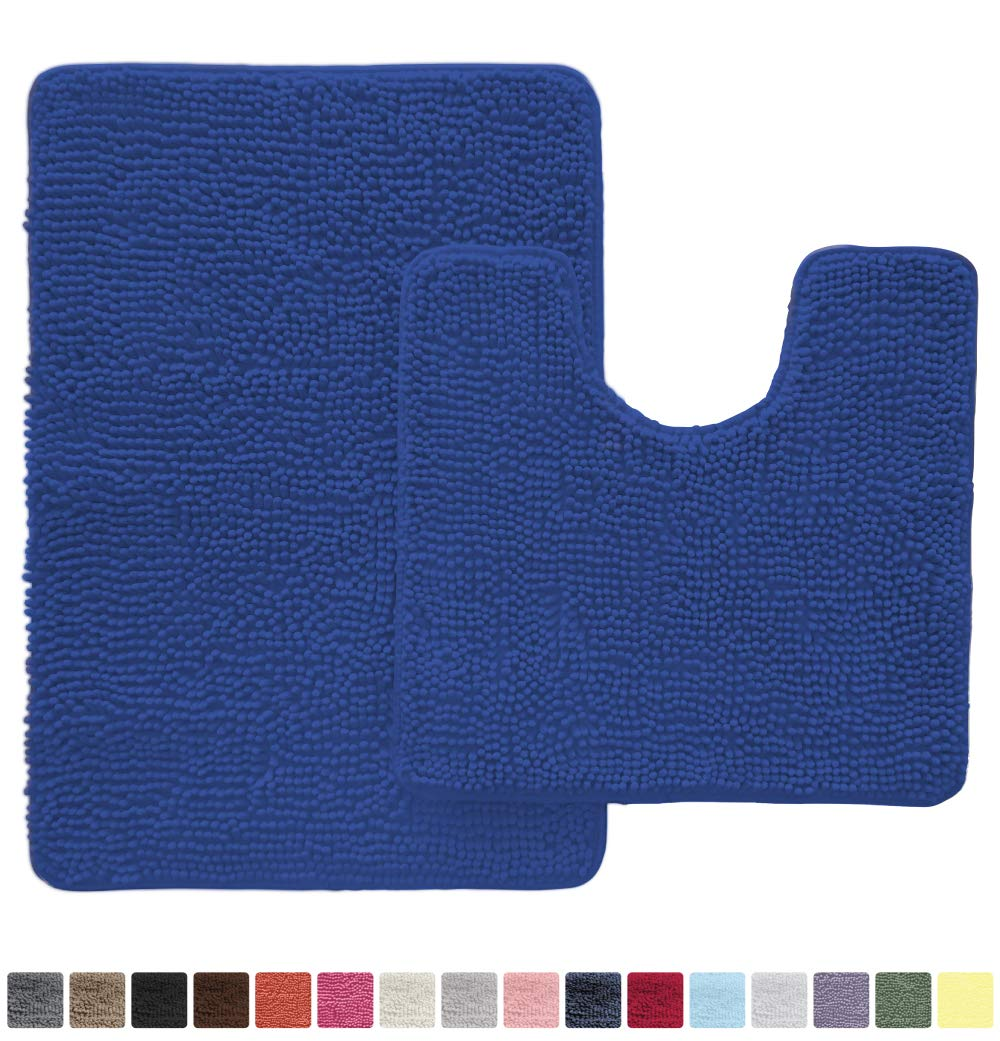 Gorilla Grip Original Shaggy Chenille 2 Piece Area Rug Set Includes Oval U-Shape Contoured Mat for Toilet and 30x20 Bathroom Rugs, Machine Wash Dry, Plush Mats for Tub, Shower and Bathroom, Royal Blue