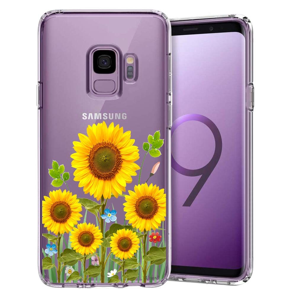 Unov Galaxy S9 Case Clear with Design Soft TPU Shock Absorption Slim Embossed Flower Pattern Protective Back Cover for Galaxy S9 (Sunflower Blossom)