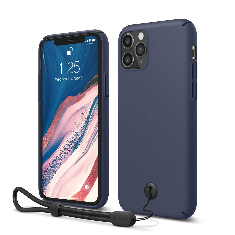 "elago iPhone 11 Pro Slim Fit Strap Case 5.8""  Jean Indigo  - Slim, Light, Simple Design, Matte Coating, Anti-Slip, Raised Lip, Attachable Strap and Button, Fit Tested [Made in Korea]"
