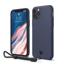 "elago iPhone 11 Pro Slim Fit Strap Case 5.8"" |Jean Indigo| - Slim, Light, Simple Design, Matte Coating, Anti-Slip, Raised Lip, Attachable Strap and Button, Fit Tested [Made in Korea]"