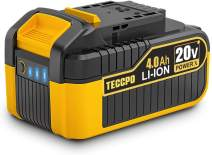 TECCPO 20V MAX 4.0 Ah Lithium Ion Battery-Pack, Rechargeable Replacement Battery, for All 20V TECCPO Cordless Power Tools-ZPK18HS4000