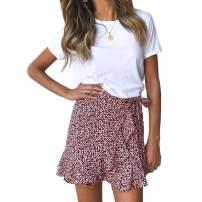 Women's Leopard Asymmetrical Ruffles High Waist Printed Cute Summer Casual Mini Skirt