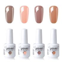 Elite99 Gel Nail Polish Soak Off UV LED Nail Art Lacquer Manicure Kit Nude Color Series Set + Gel Nail Remover Wraps 20pcs