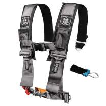 Pro Armor A114230SV P151100 Silver 4-Point Harness 3 Inch Straps RZR UTV Seat Lap Belt with Bypass Clip