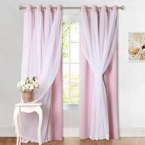 PONY DANCE Pink Curtains for Girls - Elegance Crushed Sheer x Room Darkening Drapes Decor for Living Room Windows, 52W x 108L inches, Light Pink, Set of 2