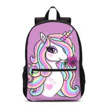 FeHuew Girls Rose Unicorn Backpacks Bookbag Shoulder Bag Laptop Bag for 1-5th Grade