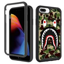GUGU6JI Case for iPhone 6 Plus 6s Plus, Fashion Luxury iPhone 8 Plus Case, Cool Army Green Shark iPhone 7 Plus Case for Boys Men Designer Rugged Dual Layer Bumper Full-Body Protective Cover 5.5 inch
