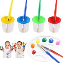 LOKIPA 9 Pcs No Spill Paint Cups Set with Paint Brushes and Paint Tray Palette, Spill Proof Paint Cups with Lids for Kids Art Painting (Assorted Colored)