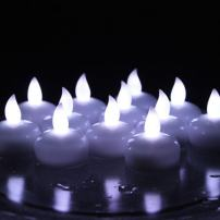 Winterworm Waterproof Cold White Flicker Flameless Floating Led Tealights Candles Wedding Party Xmas- Set of 12