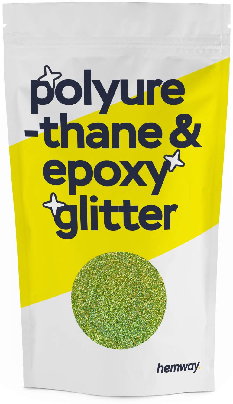 Hemway Metallic Glitter Floor Crystals for Epoxy Resin Flooring (500g) Domestic, Commercial, Industrial - Garage, Basement - Can be Used with Internal & External (Lime Green Holographic)