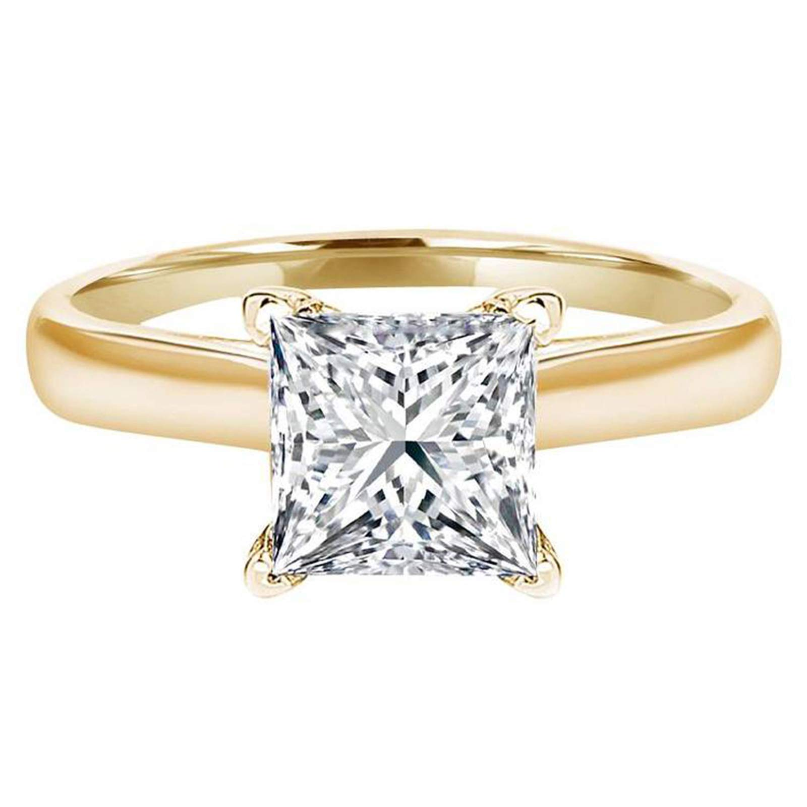 0.4ct Brilliant Princess Cut Solitaire Highest Quality Lab Created White Sapphire Ideal VVS1 D 4-Prong Engagement Wedding Bridal Promise Anniversary Ring Solid Real 14k Yellow Gold for Women
