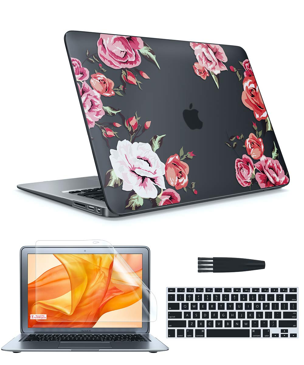 GVIEWIN Case for MacBook Air 13 Inch Case (A1369 & A1466, Older Version 2010-2017 Release), Flower Hard Sell&Keyboard Cover&Screen Protector& Cleaning Brush, Compatible with Air 13, Blossms/Black