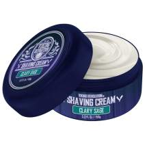 Luxury Shaving Cream Clary Sage Scent - Soft, Smooth & Silky Shaving Soap - Rich Lather for the Smoothest Shave - 5.3oz
