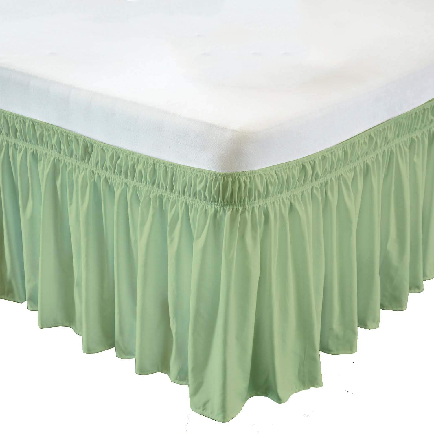 Wrap Around Bed Skirt- 12 Inch Drop Length Style Easy Fit Elastic Bed Ruffles Bed-Skirt Wrinkle Free Bed Skirt - Sage, Twin in All Bed Sizes and Colors