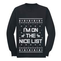 I'm On The Nice List Funny Holiday Ugly Christmas Youth Kids Long Sleeve T-Shirt