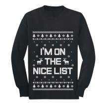 I'm On The Nice List Funny Holiday Ugly Christmas Youth Kids Long Sleeve T-Shirt
