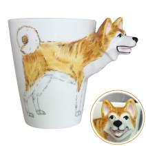 3D Coffee Dog Mug, Animals Personalized Tea Cup, Creative Hand Painted 3D Dog Mug, Gift for Lovers Kids Friends (Akita Inu)