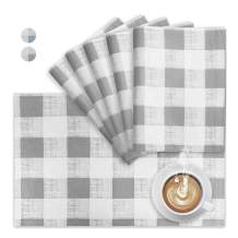 VCVCOO Placemats,Heat Resistant Plaid Table Mats,Placemat Set of 6 Non-Slip, Washable Check Place Mats,Waterproof Kitchen Tablemats for Dining Table 13 by 19 inches (Light Gray)