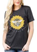 Save The Bees T Shirt Women Short Sleeve Sunflower T-Shirt Cute Funny Graphic Tee Top