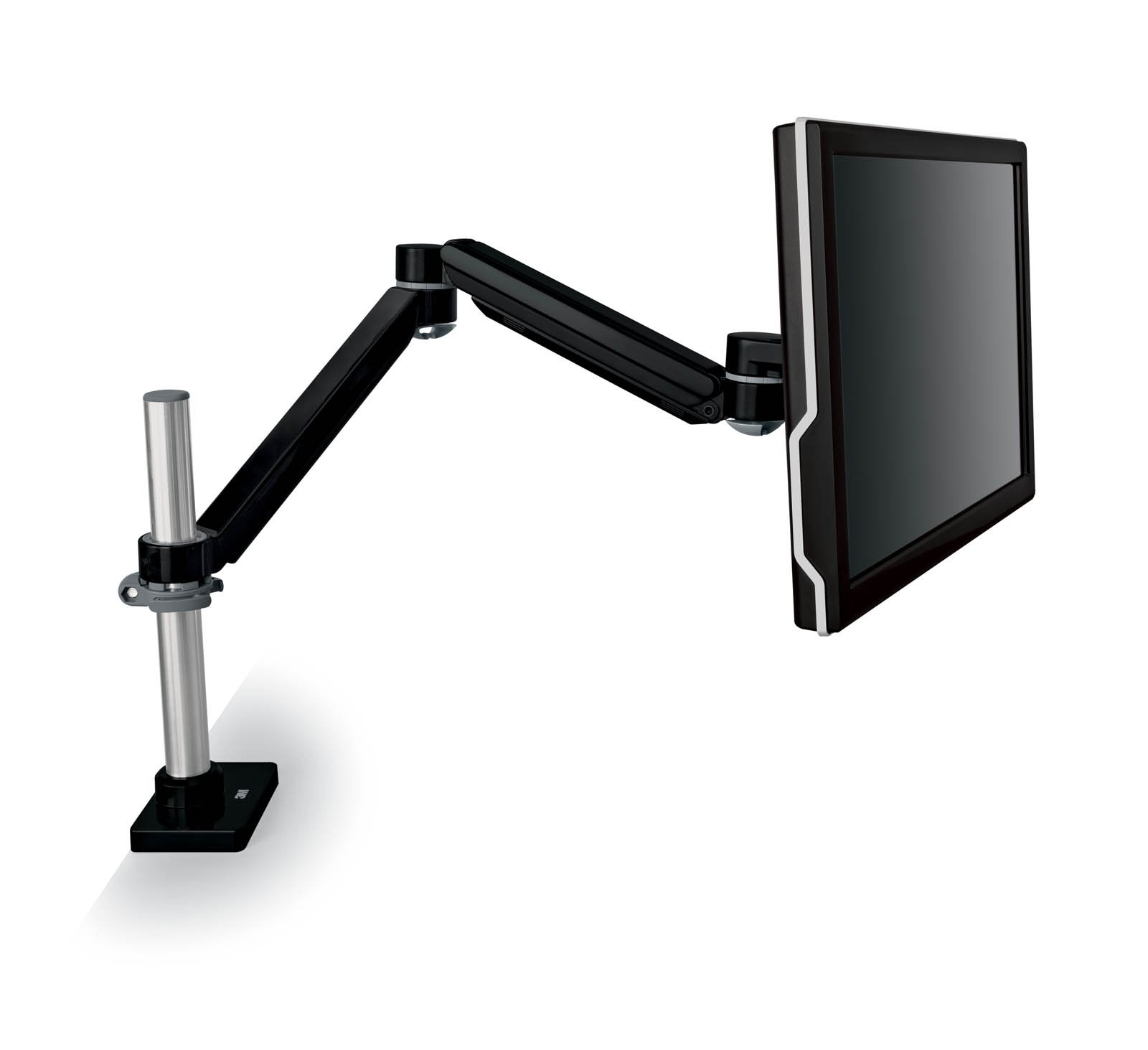 """3M Easy Adjust Desk Mount Monitor Arm, Adjust Height, Tilt, Swivel and Rotate by Holding and Moving Monitor, Free Up Desk Space, Clamp or Grommet, For Monitors Up to 20 lbs <= 27"""", Black (MA240MB)"""