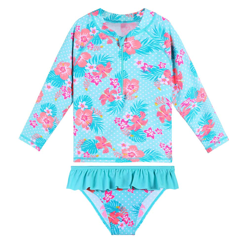 TFJH E Girls Long Sleeve Swimsuit UPF 50+ Rashguard Tankini Swim Set Two Pieces 3-10Y