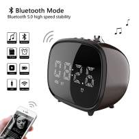 BETNEW Alarm Clock Wireless Bluetooth Speaker, Retro TV with Candy Color Design, 4 Hours Endurance, AUX TF Card Play, LED Display for Bedroom,Hotel,Party,Camping,Sleep Timer, Snooze Best Gift
