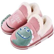 Anyo Girls Boys Home Slippers Warm Dinosaur Cute House Slipper for Toddler Fur Lined Winter Indoor Shoes