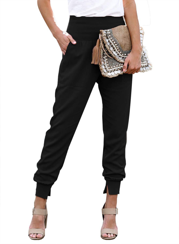 GOSOPIN Women Casual Drawstring Elastic Waist Cotton Jogging Jogger Pants with Pockets
