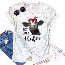 Womens Not Today Heifer Shirts Short Sleeve V-Neck Letter Print Casual Blouse
