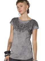 Women's Printed T-Shirt - Exclusive Street Art Owl Design - Crew Neck Cotton Top