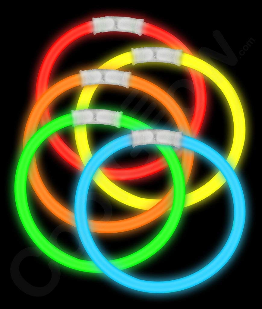 Fun Central 50 Pack - 8 Inch Glow Sticks Bracelet in Bulk Wholesale - Glowsticks Party Supplies with Glow in The Dark Bracelets and Connectors - Assorted Colors