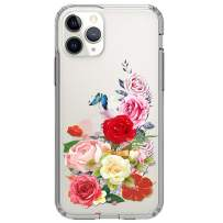 """HUIYCUU Compatible with iPhone 11 Pro Case 5.8"""", Shockproof Anti-Slip Cute Glitter Clear Design Crystal Pattern Funny Slim Fit Soft Bumper Girl Women Cover Case for iPhone 11 Pro, Rose Flower Leaf"""