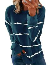 zeyubird Lightweight Crewneck Pullover Sweatshirts Fall Clothes Side Split Striped Long Sleeve Shirts for Women Tops