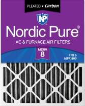 Nordic Pure 16x25x2 MERV 8 Pleated Plus Carbon AC Furnace Air Filters, 3 PACK, 3 Piece