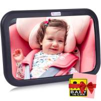 Innokids Baby Safe Car Mirror for View Infant in Rear Facing Back Seat Newborn Safety Secure Double-Strap Shatterproof Clear Reflection Suit for Registry Day Baby Shower Gift (Black)