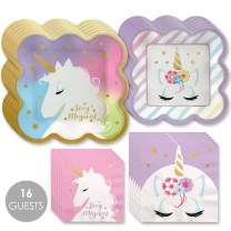 Big Dot of Happiness Unicorn with Gold Foil - Magical Rainbow Unicorn Baby Shower or Birthday Party Tableware Plates and Napkins - Bundle for 16