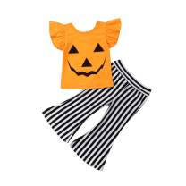 Toddler Kids Girl Clothes Set Halloween Pumpkin Ruffle T-Shirt and Striped Pant, 2Pcs Halloween Outfit