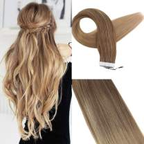 Easyouth Glue in Extentions 16 Inch 40g 20Pcs per Package Color 10 Fading to 16 Skin Weft Hair Extensions Human Hair Glue Extensions