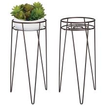"mDesign Midcentury Modern Flower, Plant, and Succulent Stand Minimalist Planter - Metal, Indoor, Outdoor Design Hairpin Legs - Sturdy - 16.7"" High/7.6"" Diameter - Set of 2 - Bronze"