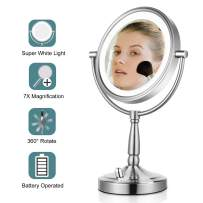 Lighted Makeup Mirror - 8'' LED Vanity Mirror 7x Magnifying Double Sided Mirror Battery Operated Nickel Finish ALHAKIN