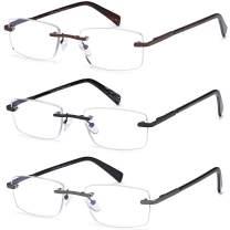 3 Pack Rimless Blue light Blocking Reading Glasses for Men, Fashion Lightweight Mens Readers with Spring Hinge