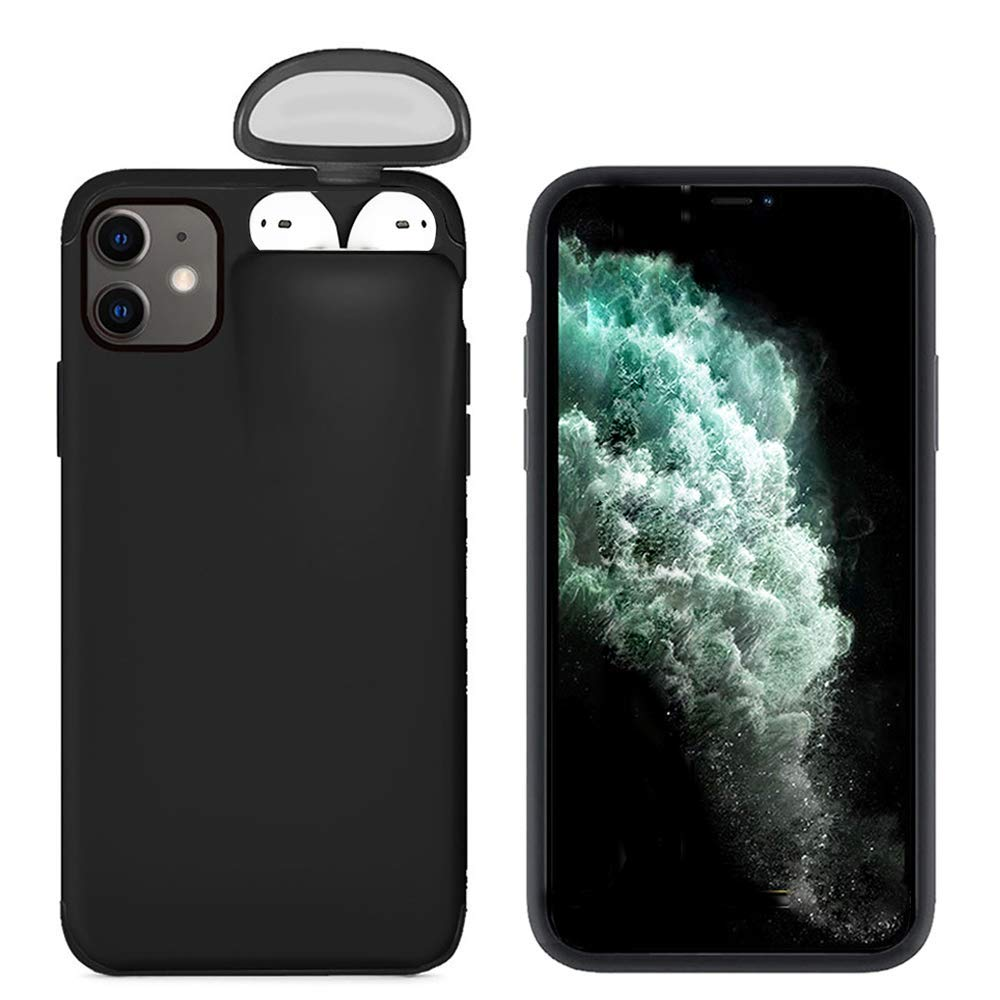 2 in 1 Case Compatible with iPhone Xs Max and for Airpods,Ultra Slim Protective Cover Liquid Silicone Gel Rubber Case Full Protective Shockproof Case for iPhone Xs Max with Headset Protection